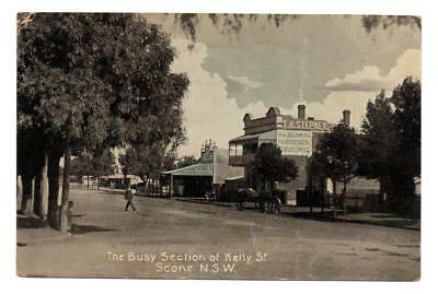 Old Vintage Australian Postcard The Busy Section of Kelly Street, Scone NSW