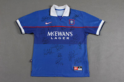 GLASGOW RANGERS home shirt jersey Nike 1997 1999  with autographs / men/ SIZE S