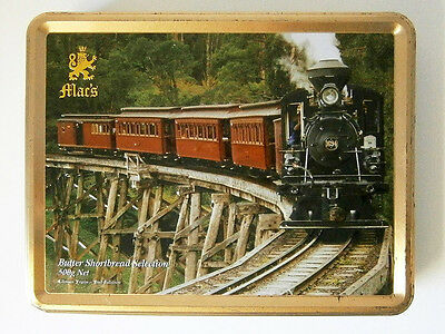 COLLECTABLE 500G MAC'S BISCUIT TIN with EMBOSSED VINTAGE STEAM TRAIN