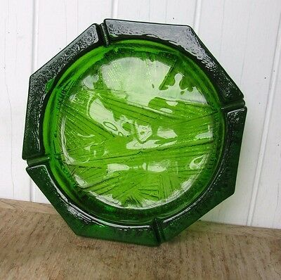 Unique Blenko Glass Lime Green Octagonal Glass Ashtray #703 Circa 1975