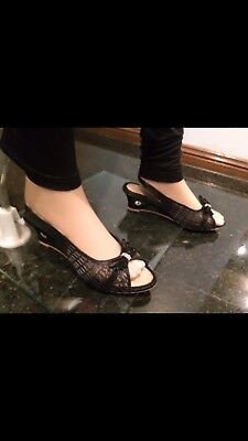 Size 7 Ladies Indian Bollywood Casual Shoes Heels Sandals Slip Ons Black