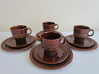 4 X STUNNING VINTAGE RETRO BESWICK ZORBA CUP, SAUCER AND SIDE PLATE TRIO - 1960s