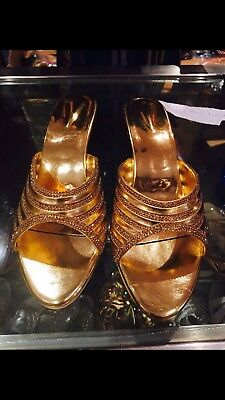 D2 Size 5 Ladies Indian Bollywood Casual Shoes Heels Sandals Slip Ons Gold