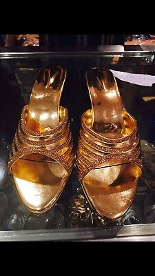 Size 7 Ladies Indian Bollywood Casual Shoes Heels Sandals Slip Ons Gold