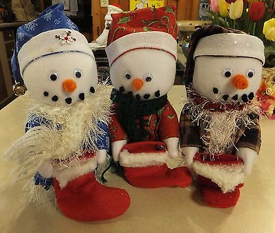 """3 Handmade Felt 9"""" Snowmen W/ Stockings, Hats And Hand Knitted Scarves 9"""" Tall"""