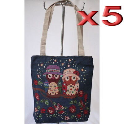 5pc Wholesale Bulk Lots Women Owl Canvas Shoulder Casual Handbag Lady Girl Bag