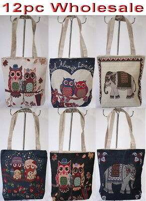12pc Wholesale Women Owl Elephant Canvas Shoulder Casual Handbag Lady Bag Mixed