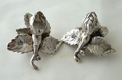 PAIR VICTORIAN STERLING SILVER TEAPOT FINIALS ~ London c1870 ~ FLOWERS & LEAVES