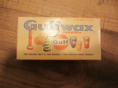 Vintage Gulfwax Gulf Paraffin Wax Jelly, Candles,sticking drawers 4 ounce Box
