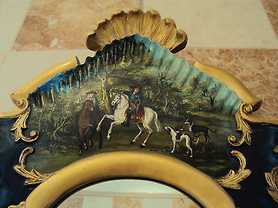 Italian Louis XIV,XV,XVI style,wood painted MIRROR,Cavalier Horse,ROSE,110cm,43""