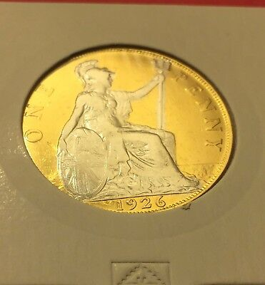 1926 OLD PENNY  24ct Gold Plated with Rhodium  - 24K + Rhodium A super white fin