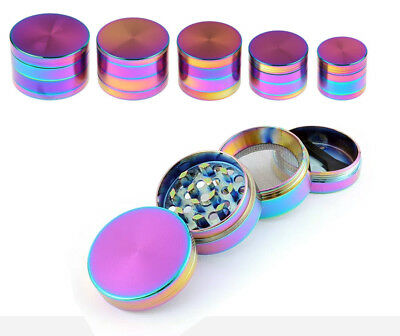 Rainbow Shiny Tobacco Herb Grinder Crusher 4 Part Mini Small Size For Women UK