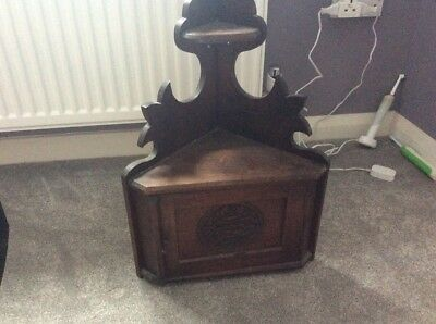 small antique welsh carved corner cupboard