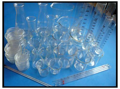 Lab Glassware Glass Kit Pyrex Glass Beaker, Erlenmeyer flask, Measuring Cylinder