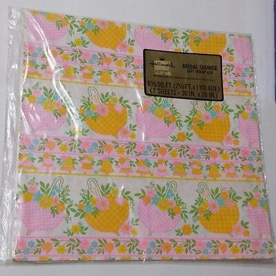 Vintage Gift Wrap Bridal Shower Wrapping Paper Hallmark Umbrella Flowers Retro
