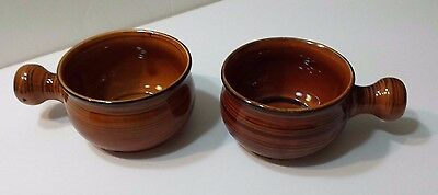 Vintage Brittany Nasco Oven Proof Pottery Set of 2 Brown Bowls with Handles