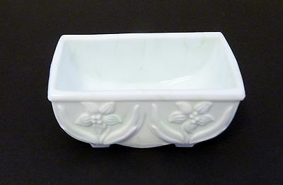 Akro Agate Lily Planter White with Pale Green No. 657 Slag Glass