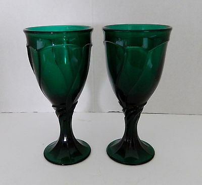 Noritake Sweet Swirl Evergreen #615 Footed Wine Glass 6 3/4 Inch Lot of Two
