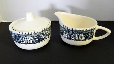 Royal China USA Colonial Heritage Blue Covered Sugar Bowl Creamer Blue Building