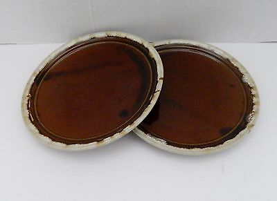 Western Stoneware Brown Drip w Griffin / Flying Lion Back Mark 2 Luncheon Plates