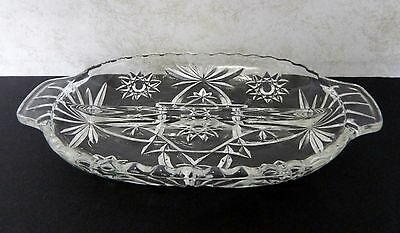 """Anchor Hocking Star of David Pattern EAPC Oval Relish Divided Tab Handled 10"""""""