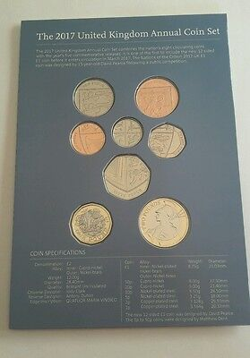 2017 Royal Mint Brilliant Uncirculated Definitive 8 Coin Set ~  new £1 pound [4]