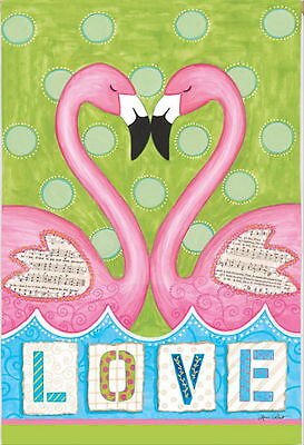 New Lg Evergreen Flag Summer Valentine's Love Pink Flamingo Two Sided  29 X 43