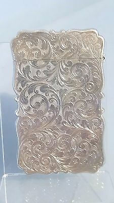 1845 Early Victorian Silver card case ornate engraving by William Turnpenny