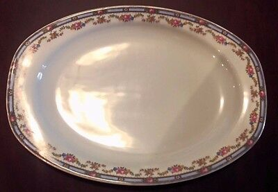 TK Thuny Czechoslovakia Oval Vegetable Platter Blue Gold Rim Multi Floral Plate