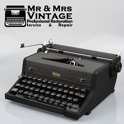 Royal Arrow Serviced Typewriter Working Black Ribbon Glass keys Vintage Portable