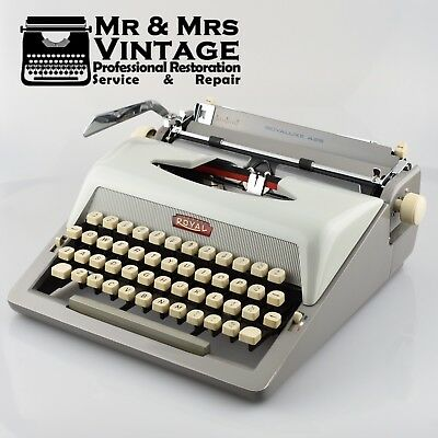 Vintage Royal Royaluxe 425 Typewriter Two Tone Grey Working Black Red ribbon