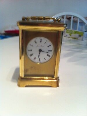 JEAN RENET French Brass Carriage Clock with Bevelled Glass & Winding Key