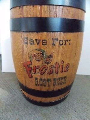 Old, vintage Frostie Root Beer wooden advertising barrel combination bank 1940's