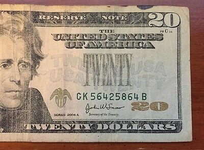 2004A $20 Missing Green Seal Error Note (5864B)