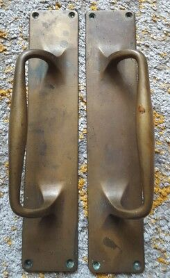 "Original Antique Art Nouveau Pair Large 12"" Brass Bronze Door Pull Handle"