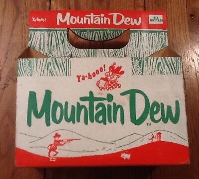 VERY RARE 12oz. MOUNTAIN DEW HILLBILLY FLAT TOP 6 PACK CARRIER CARTON