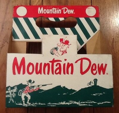 MOUNTAIN DEW 10 oz CARRIER ~ EARLY MT DEW IS GOOD! STYLE~ GREEN STRIPED