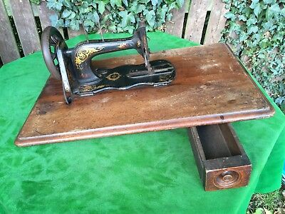 Victorian Singer Antique Treadle Sewing Machine Fiddle Table Top C1880