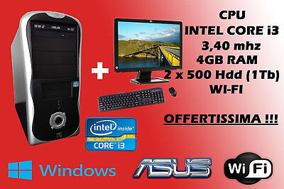 PC DESKTOP COMPUTER FISSO COMPLETO INTEL i3 4 GB RAM, 1TB HDD + MONITOR 19""