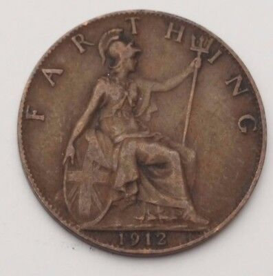 Dated : 1912 - Copper - One Farthing - Coin - King George V - Great Britain