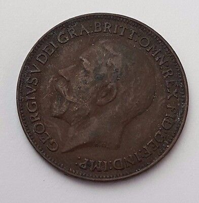 Dated : 1922 - Copper - One Farthing - Coin - King George V - Great Britain