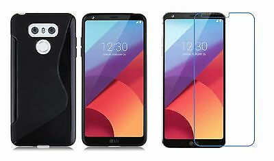 Black S-Line Tpu Case+ Tempered Glass Screen Protector For Lg G6