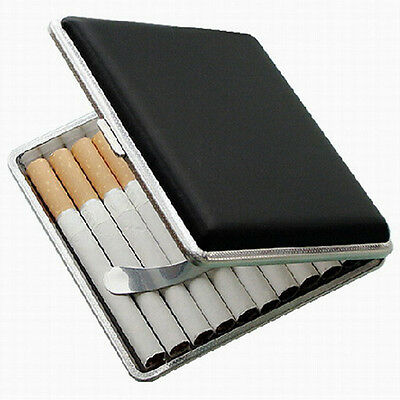 Black Pocket Leather Cigarette Case Tobacco Smoke Holder Container Storage Box
