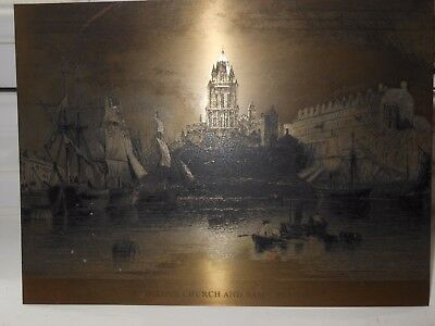 Antique Copper Etching Redcliffe Church & Basin Bristol W H Bartlett  E Benjamin