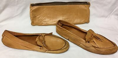 Vintage Leather Travel Moccasin Slippers With Zippered Pouch Nimrod Men's sz 9