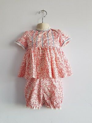 Vintage Baby Girl's Pink & White Floral Dress and Shorts Set