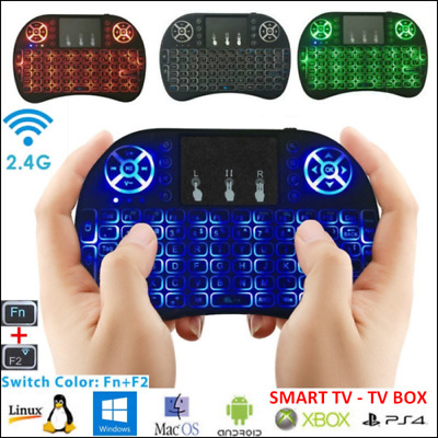 fr MINI TASTIERA RETROILLUMINATA KEYBOARD WIRELESS TOUCHPAD SMART TV BOX ANDROID