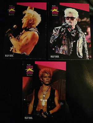 Billy Idol Proset Superstar Musicards 1St Edition-All 3 Cards Set Rare Oop
