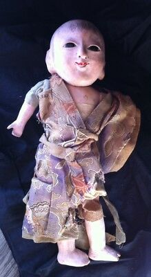 Antique Asian Japanese Composition Doll with Glass Eyes - 9""