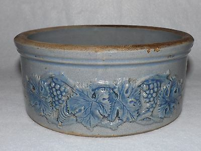 Antique Robinson Ohio Pottery Stoneware Cobalt Blue Embossed Grape Vine Butter